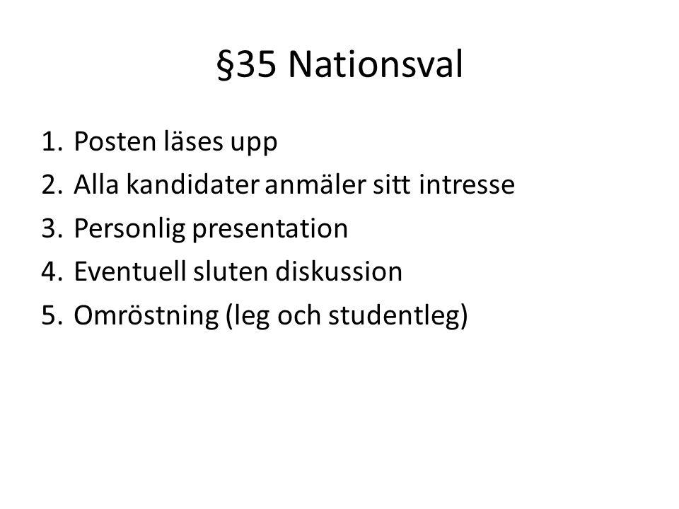 §35 Nationsval 1. Posten läses upp 2. Alla kandidater anmäler sitt intresse 3.
