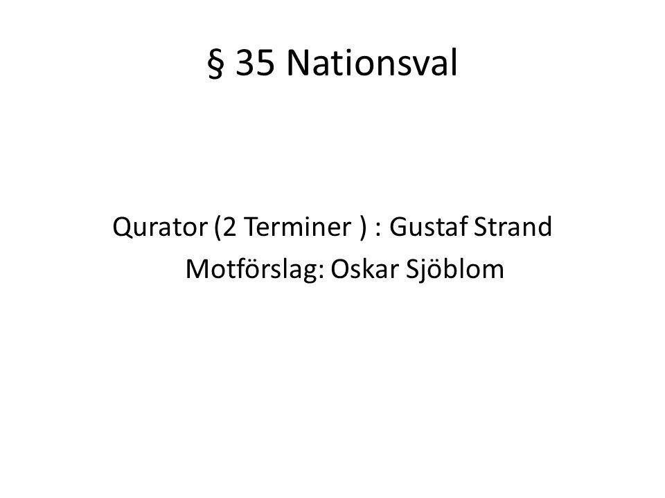 § 35 Nationsval Qurator (2 Terminer ) : Gustaf Strand Motförslag: Oskar Sjöblom