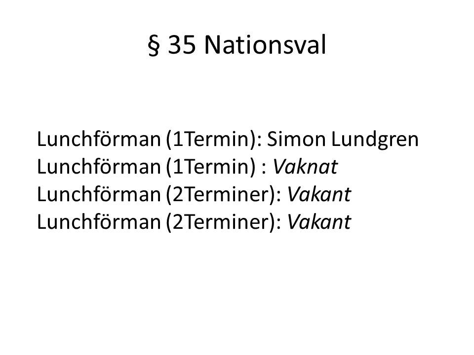 § 35 Nationsval Lunchförman (1Termin): Simon Lundgren Lunchförman (1Termin) : Vaknat Lunchförman (2Terminer): Vakant