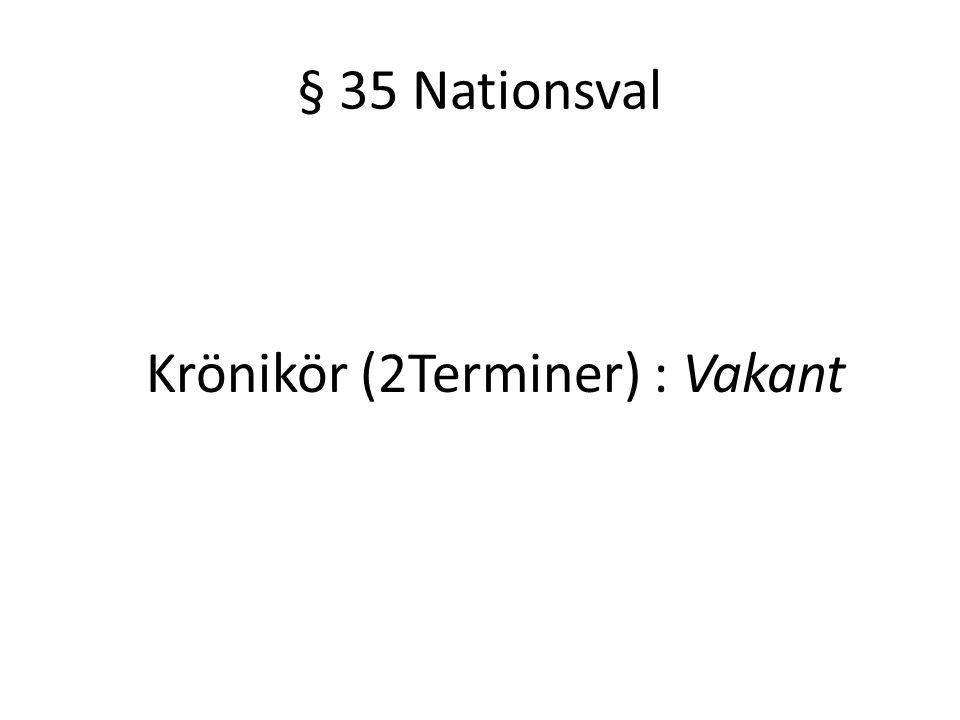 § 35 Nationsval Krönikör (2Terminer) : Vakant