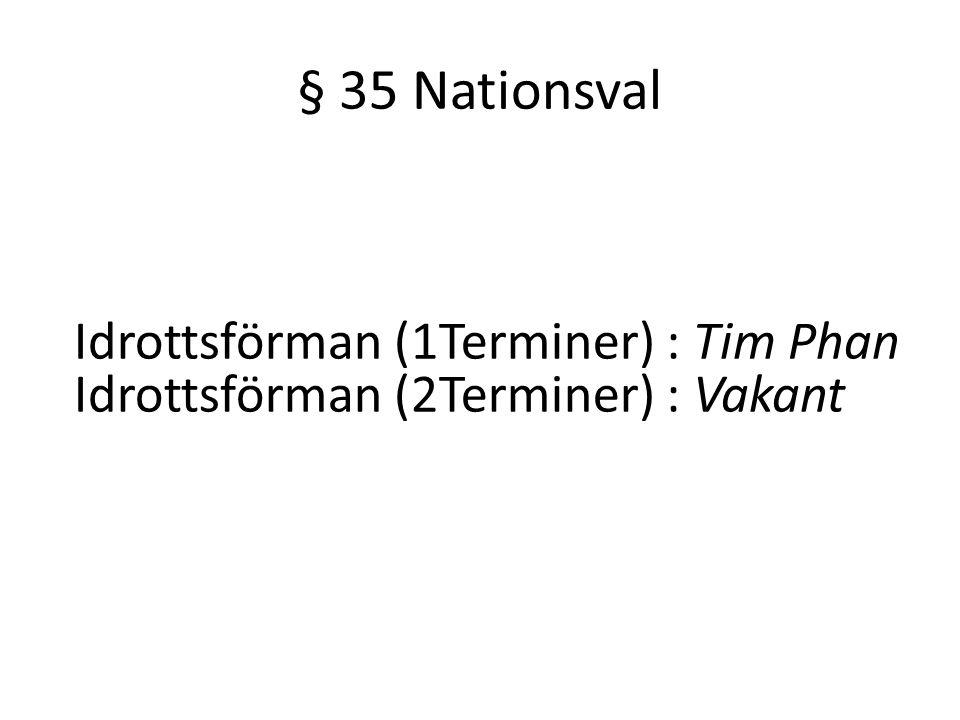 § 35 Nationsval Idrottsförman (1Terminer) : Tim Phan Idrottsförman (2Terminer) : Vakant