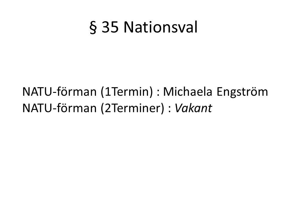 § 35 Nationsval NATU-förman (1Termin) : Michaela Engström NATU-förman (2Terminer) : Vakant