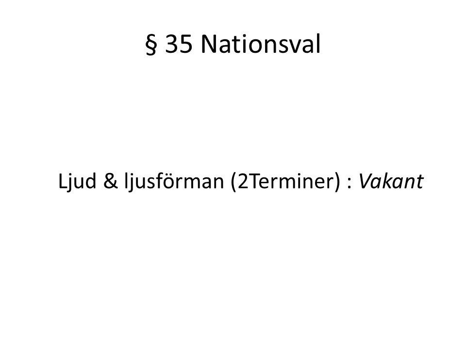 § 35 Nationsval Ljud & ljusförman (2Terminer) : Vakant