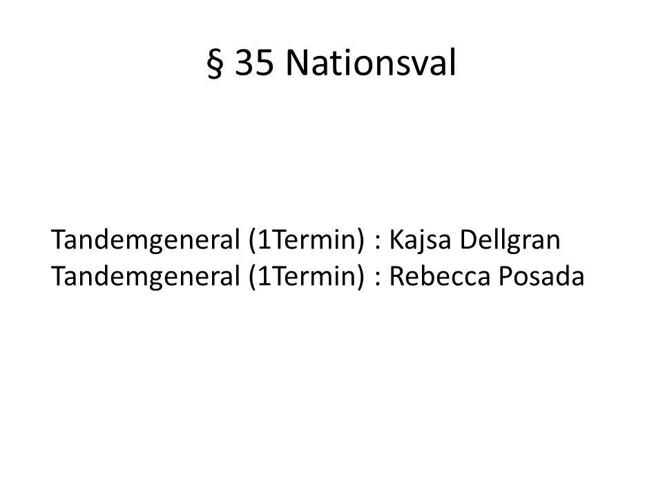 § 35 Nationsval Tandemgeneral (1Termin) : Kajsa Dellgran Tandemgeneral (1Termin) : Rebecca Posada