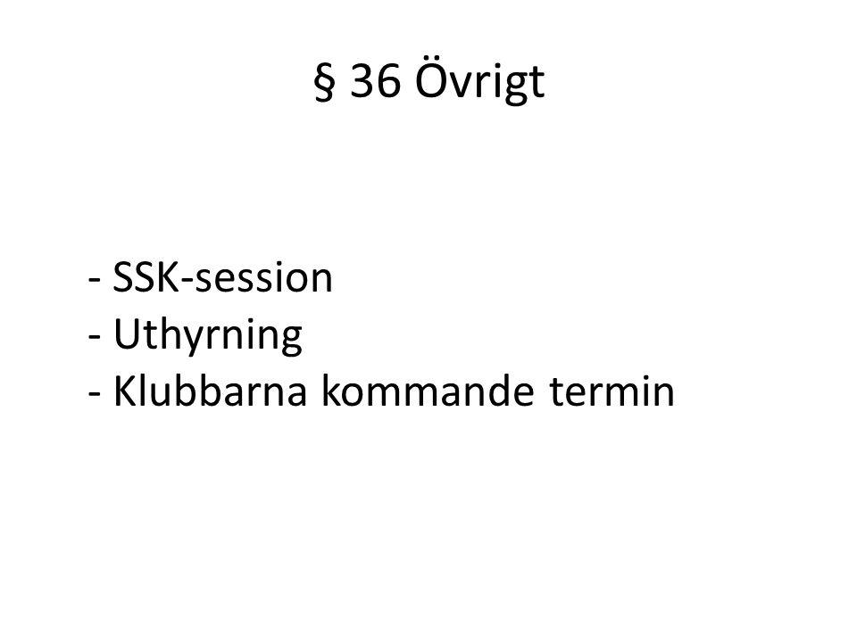 § 36 Övrigt - SSK-session - Uthyrning - Klubbarna kommande termin