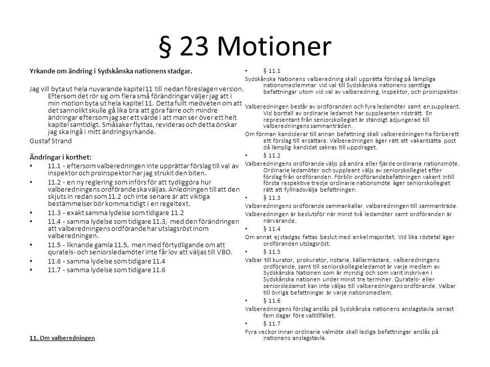 § 23 Motioner Yrkande om ändring i Sydskånska nationens stadgar.