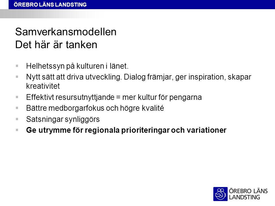 ÖREBRO LÄNS LANDSTING Samverkansmodellen Det här är tanken  Helhetssyn på kulturen i länet.