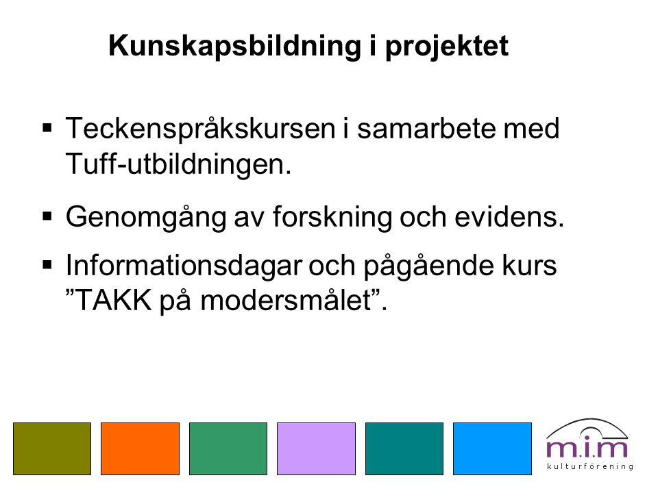 k u l t u r f ö r e n i n g Kunskapsbildning i projektet  Teckenspråkskursen i samarbete med Tuff-utbildningen.  Genomgång av forskning och evidens.