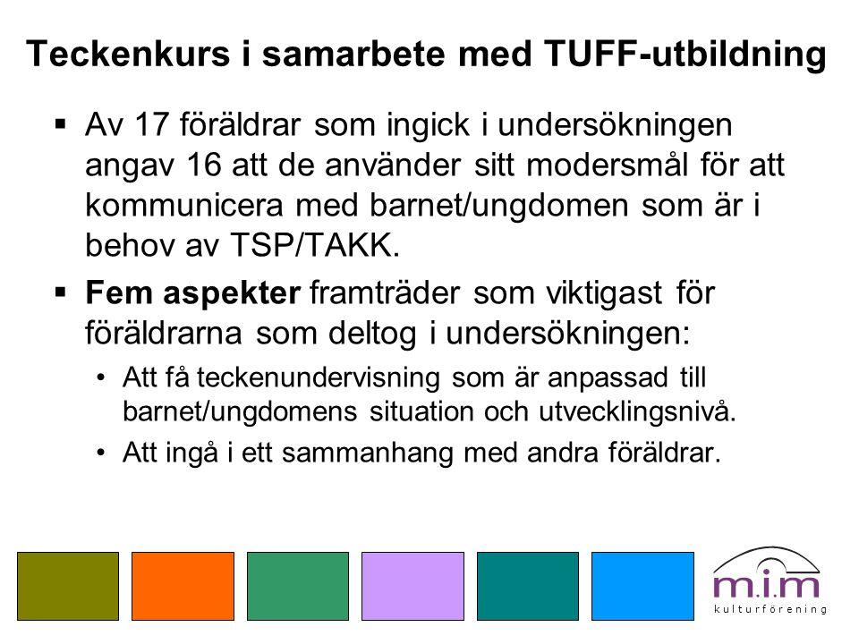 k u l t u r f ö r e n i n g Teckenkurs i samarbete med TUFF-utbildning  Av 17 föräldrar som ingick i undersökningen angav 16 att de använder sitt mod