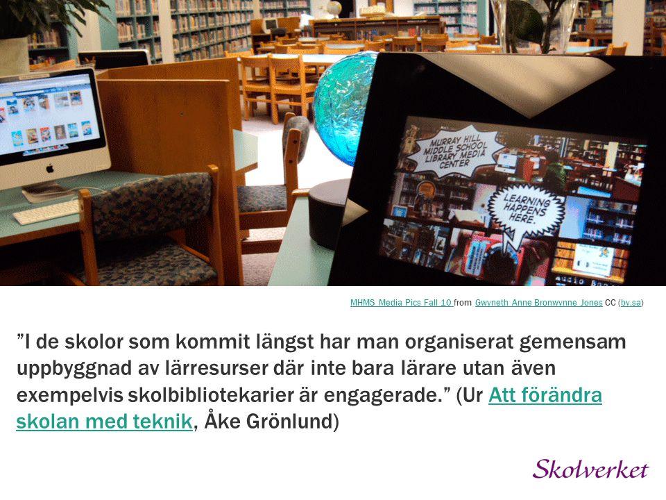 """""""I de skolor som kommit längst har man organiserat gemensam uppbyggnad av lärresurser där inte bara lärare utan även exempelvis skolbibliotekarier är"""
