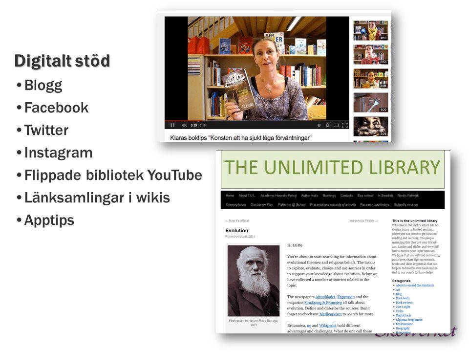 Digitalt stöd Blogg Facebook Twitter Instagram Flippade bibliotek YouTube Länksamlingar i wikis Apptips
