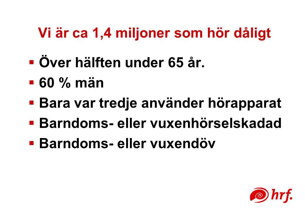 Vi är ca 1,4 miljoner som hör dåligt  Över hälften under 65 år.  60 % män  Bara var tredje använder hörapparat  Barndoms- eller vuxenhörselskadad