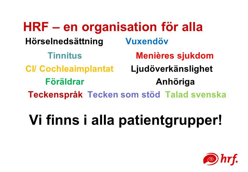HRF – en organisation för alla Hörselnedsättning Vuxendöv Tinnitus Menières sjukdom CI/ Cochleaimplantat Ljudöverkänslighet Föräldrar Anhöriga Teckenspråk Tecken som stöd Talad svenska Vi finns i alla patientgrupper!
