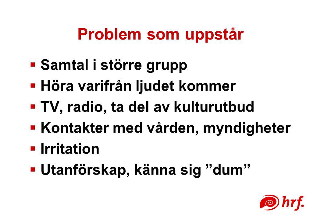 Problem som uppstår  Samtal i större grupp  Höra varifrån ljudet kommer  TV, radio, ta del av kulturutbud  Kontakter med vården, myndigheter  Irritation  Utanförskap, känna sig dum