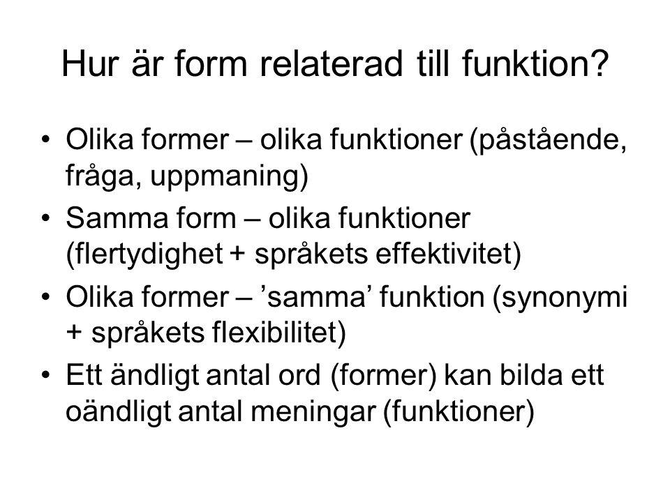 Hur är form relaterad till funktion? Olika former – olika funktioner (påstående, fråga, uppmaning) Samma form – olika funktioner (flertydighet + språk
