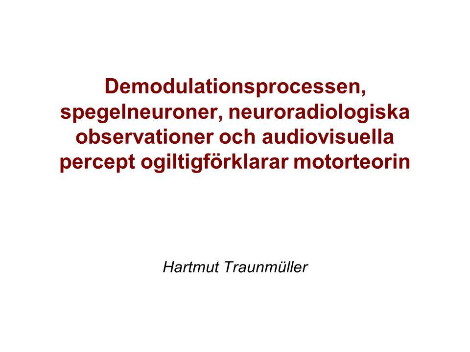 Demodulationsprocessen, spegelneuroner, neuroradiologiska observationer och audiovisuella percept ogiltigförklarar motorteorin Hartmut Traunmüller