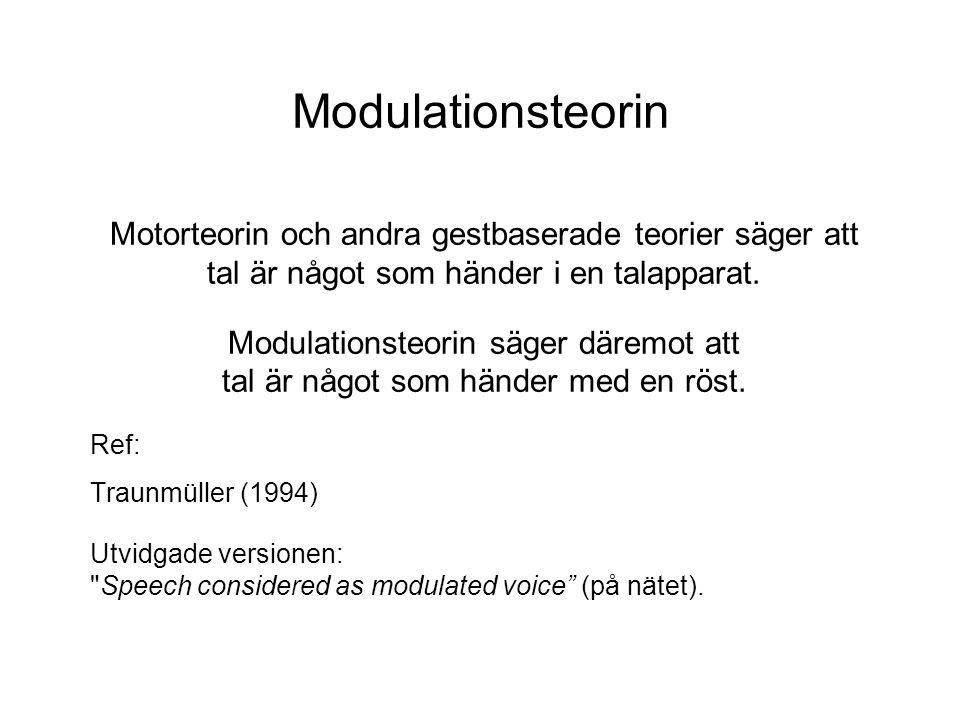 Modulationsteorin Motorteorin och andra gestbaserade teorier säger att tal är något som händer i en talapparat.