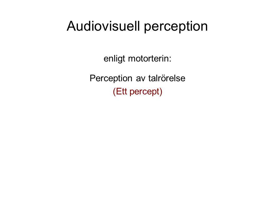 Audiovisuell perception enligt motorterin: Perception av talrörelse (Ett percept)