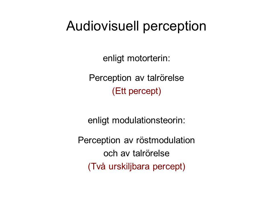 Audiovisuell perception enligt motorterin: Perception av talrörelse (Ett percept) enligt modulationsteorin: Perception av röstmodulation och av talrörelse (Två urskiljbara percept)