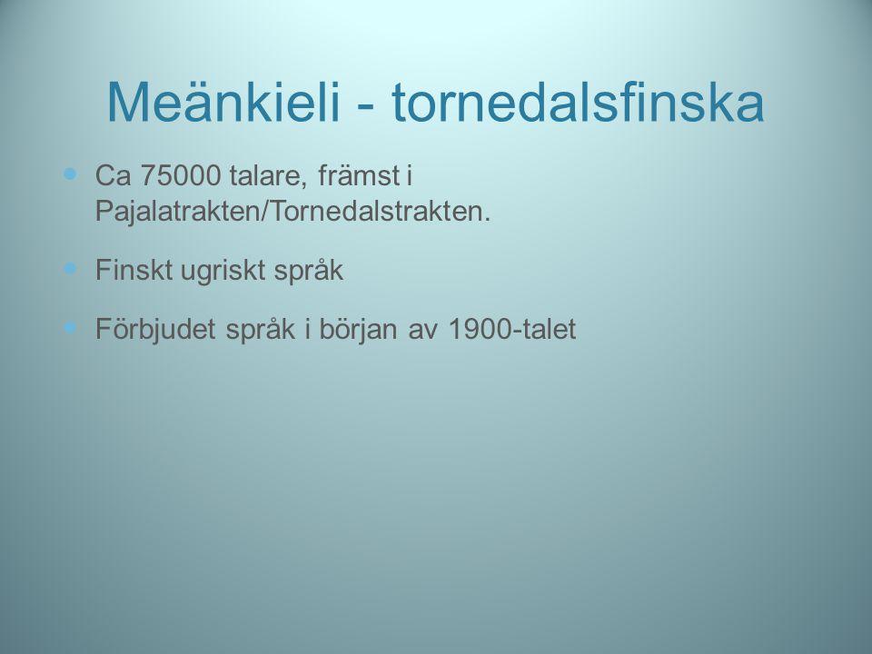 Meänkieli - tornedalsfinska Ca 75000 talare, främst i Pajalatrakten/Tornedalstrakten. Finskt ugriskt språk Förbjudet språk i början av 1900-talet