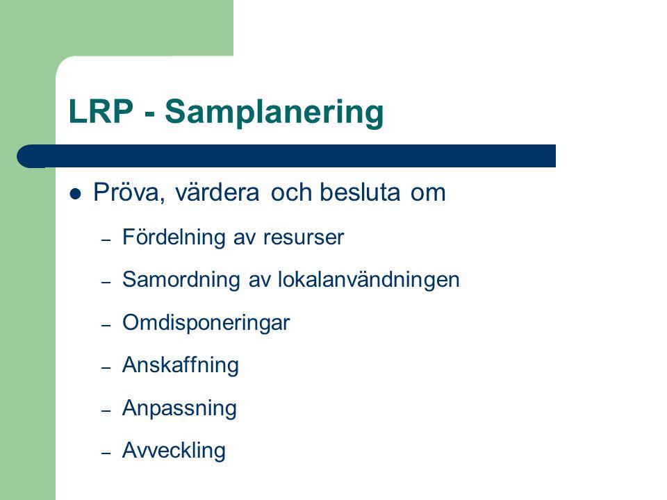 LRP - Samplanering Pröva, värdera och besluta om – Fördelning av resurser – Samordning av lokalanvändningen – Omdisponeringar – Anskaffning – Anpassni