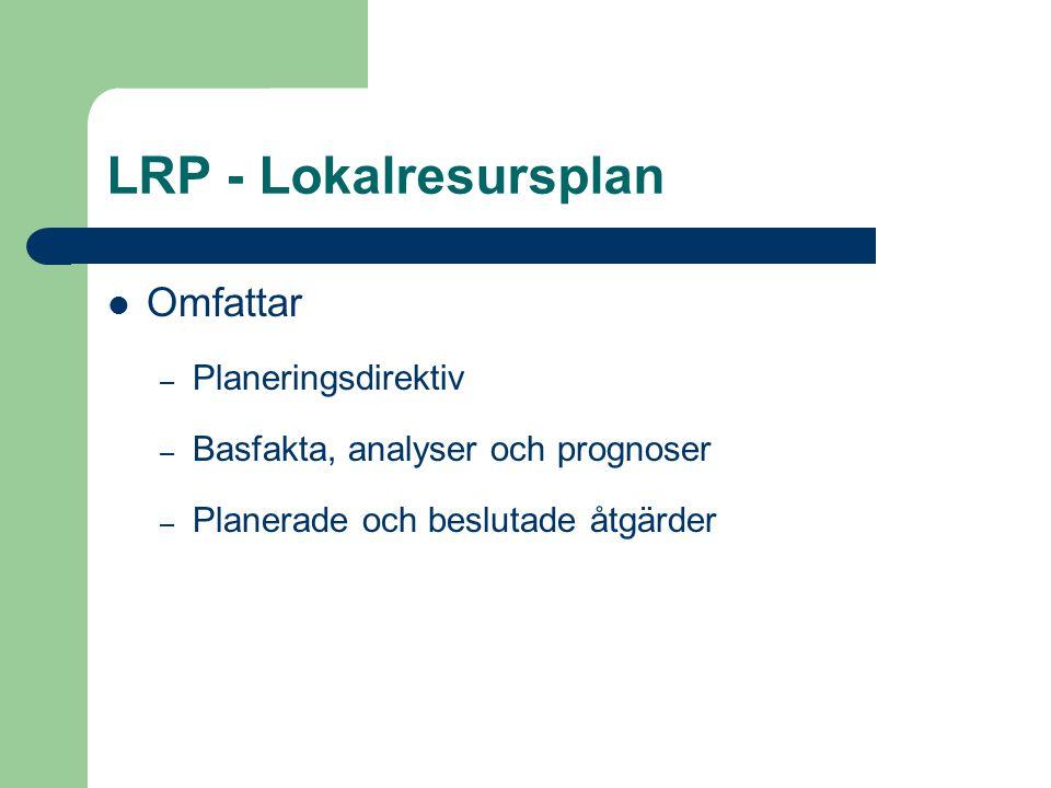 LRP - Lokalresursplan Omfattar – Planeringsdirektiv – Basfakta, analyser och prognoser – Planerade och beslutade åtgärder