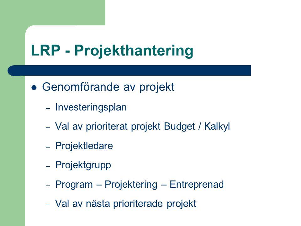 LRP - Projekthantering Genomförande av projekt – Investeringsplan – Val av prioriterat projekt Budget / Kalkyl – Projektledare – Projektgrupp – Progra