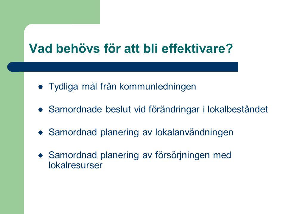 Tydliga mål från kommunledningen Samordnade beslut vid förändringar i lokalbeståndet Samordnad planering av lokalanvändningen Samordnad planering av f
