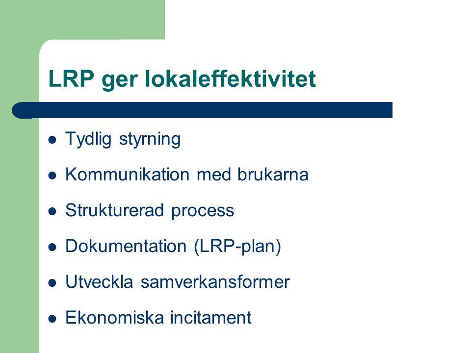 LRP ger lokaleffektivitet Tydlig styrning Kommunikation med brukarna Strukturerad process Dokumentation (LRP-plan) Utveckla samverkansformer Ekonomisk