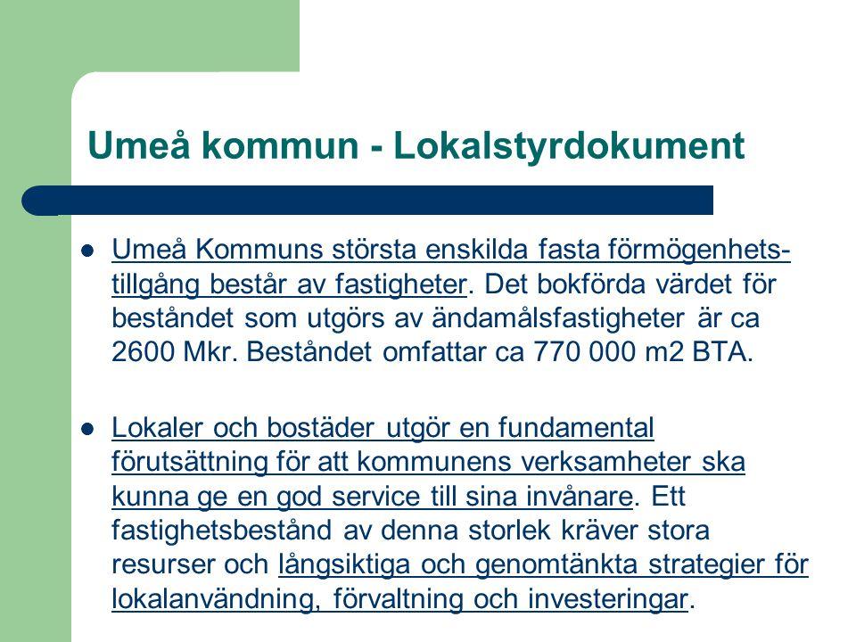 Umeå kommun - Lokalstyrdokument Umeå Kommuns största enskilda fasta förmögenhets- tillgång består av fastigheter. Det bokförda värdet för beståndet so