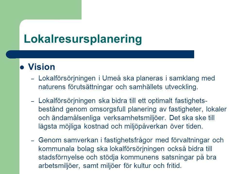 Lokalresursplanering Vision – Lokalförsörjningen i Umeå ska planeras i samklang med naturens förutsättningar och samhällets utveckling. – Lokalförsörj