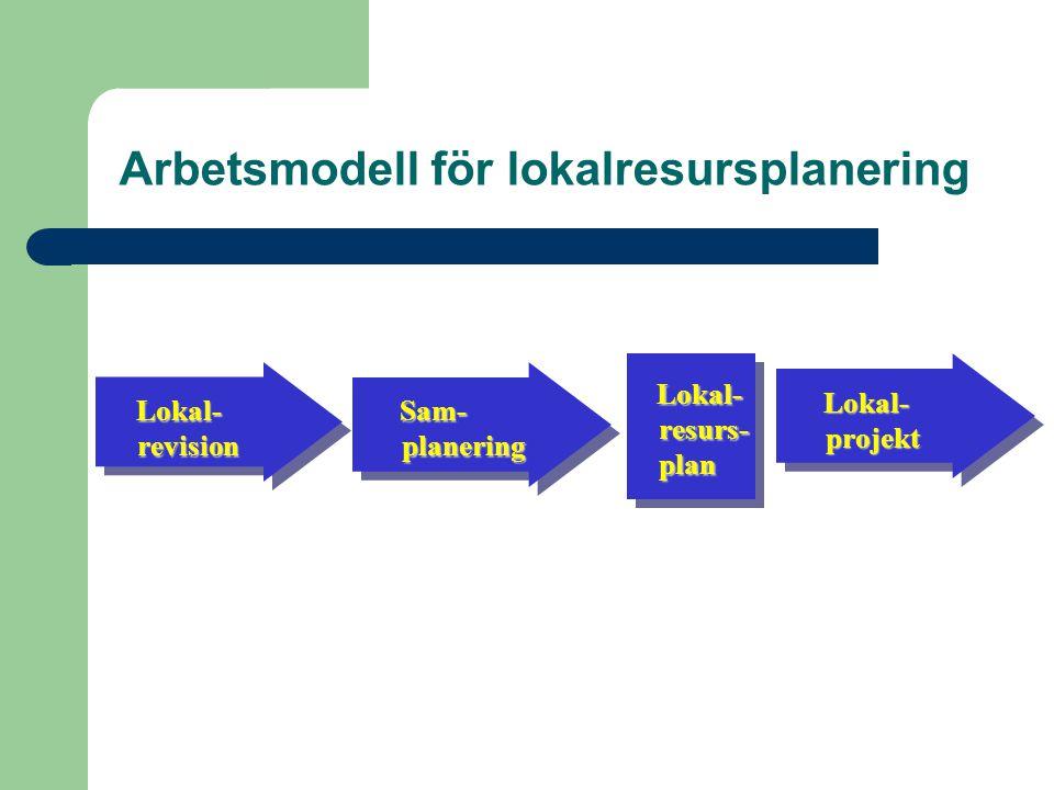Lokal- revision Lokal- revision Sam- planering Sam- planering Lokal- projekt Lokal- projekt Lokal- resurs- plan Arbetsmodell för lokalresursplanering