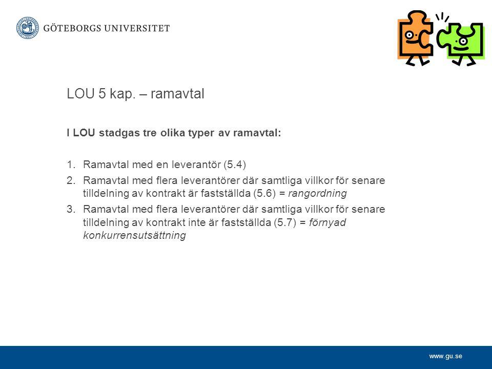 www.gu.se LOU 5 kap. – ramavtal I LOU stadgas tre olika typer av ramavtal: 1.Ramavtal med en leverantör (5.4) 2.Ramavtal med flera leverantörer där sa