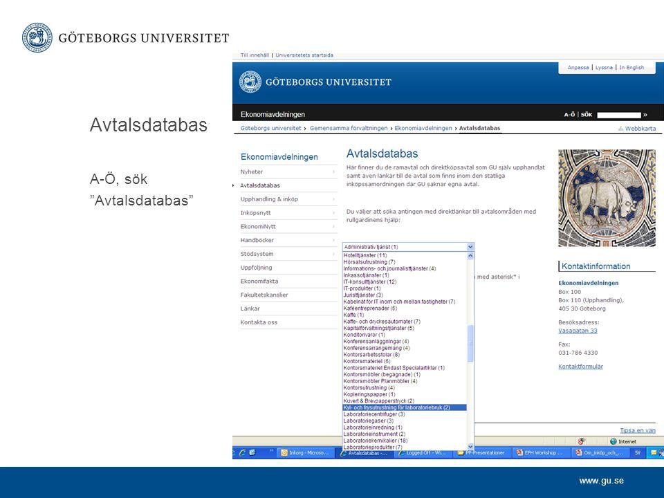 """www.gu.se Avtalsdatabas A-Ö, sök """"Avtalsdatabas"""""""