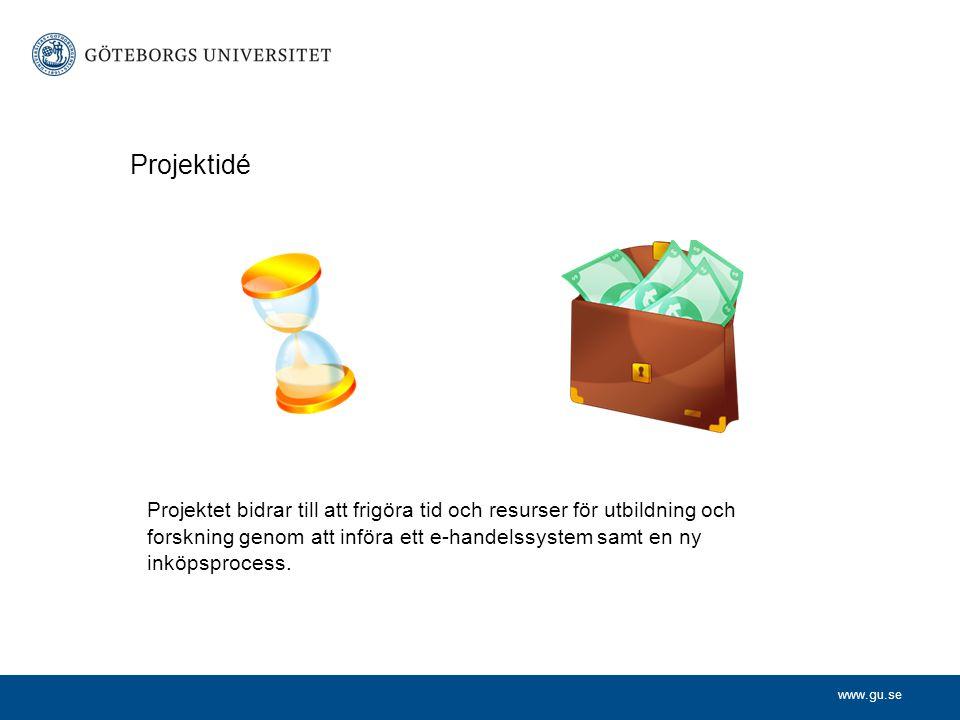 www.gu.se Projektidé Projektet bidrar till att frigöra tid och resurser för utbildning och forskning genom att införa ett e-handelssystem samt en ny i