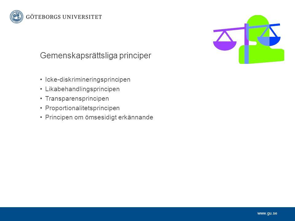 www.gu.se Gemenskapsrättsliga principer Icke-diskrimineringsprincipen Likabehandlingsprincipen Transparensprincipen Proportionalitetsprincipen Princip