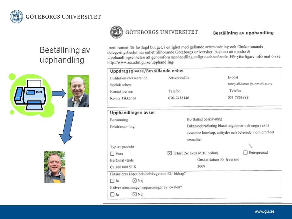 www.gu.se Upphandlare påbörjar processen Kontaktar beställaren Informerar om förutsättningarna med upphandling Beställaren informerar om beställningens syfte Enas om tillvägagångssätt och tidplan