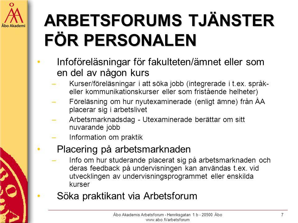Åbo Akademis Arbetsforum - Henriksgatan 1 b - 20500 Åbo www.abo.fi/arbetsforum 7 ARBETSFORUMS TJÄNSTER FÖR PERSONALEN Infoföreläsningar för fakulteten/ämnet eller som en del av någon kurs –Kurser/föreläsningar i att söka jobb (integrerade i t.ex.