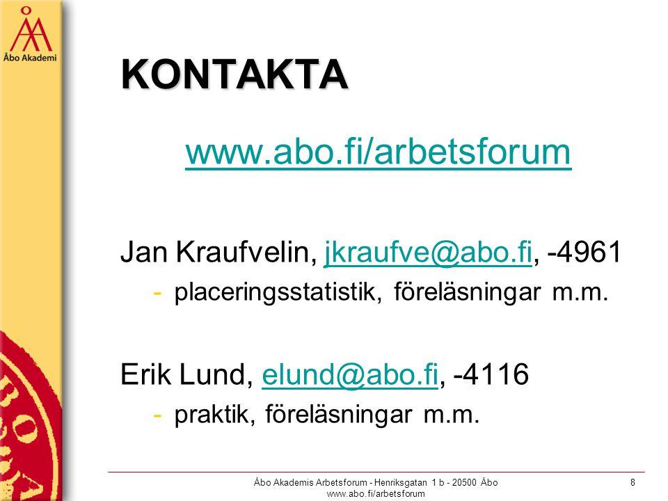Åbo Akademis Arbetsforum - Henriksgatan 1 b - 20500 Åbo www.abo.fi/arbetsforum 8 KONTAKTA www.abo.fi/arbetsforum Jan Kraufvelin, jkraufve@abo.fi, -4961jkraufve@abo.fi -placeringsstatistik, föreläsningar m.m.