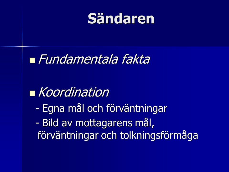 Sändaren Fundamentala fakta Fundamentala fakta Koordination Koordination - Egna mål och förväntningar - Egna mål och förväntningar - Bild av mottagarens mål, förväntningar och tolkningsförmåga - Bild av mottagarens mål, förväntningar och tolkningsförmåga