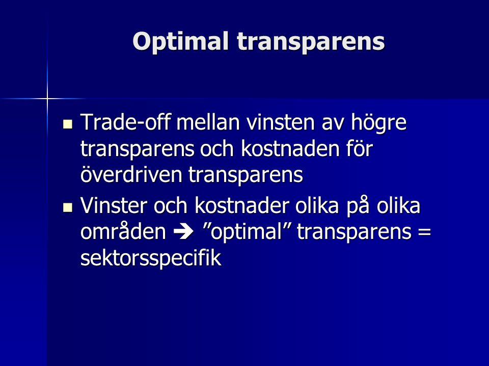 Optimal transparens Trade-off mellan vinsten av högre transparens och kostnaden för överdriven transparens Trade-off mellan vinsten av högre transparens och kostnaden för överdriven transparens Vinster och kostnader olika på olika områden  optimal transparens = sektorsspecifik Vinster och kostnader olika på olika områden  optimal transparens = sektorsspecifik