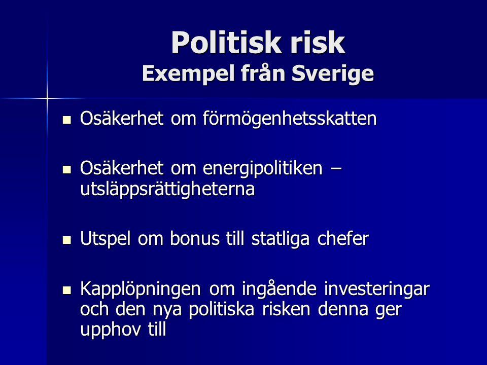 Politisk risk Exempel från Sverige Osäkerhet om förmögenhetsskatten Osäkerhet om förmögenhetsskatten Osäkerhet om energipolitiken – utsläppsrättigheterna Osäkerhet om energipolitiken – utsläppsrättigheterna Utspel om bonus till statliga chefer Utspel om bonus till statliga chefer Kapplöpningen om ingående investeringar och den nya politiska risken denna ger upphov till Kapplöpningen om ingående investeringar och den nya politiska risken denna ger upphov till