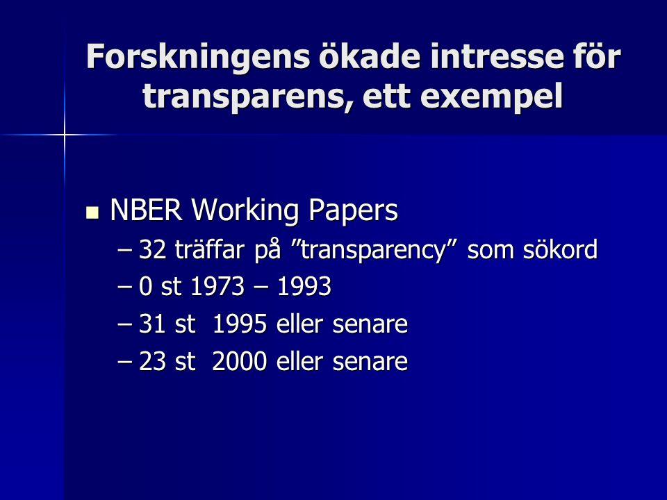Forskningens ökade intresse för transparens, ett exempel NBER Working Papers NBER Working Papers –32 träffar på transparency som sökord –0 st 1973 – 1993 –31 st 1995 eller senare –23 st 2000 eller senare
