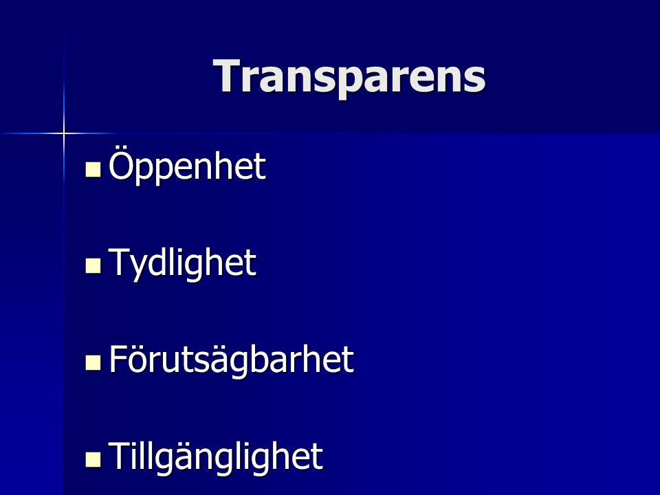 Transparens Öppenhet Öppenhet Tydlighet Tydlighet Förutsägbarhet Förutsägbarhet Tillgänglighet Tillgänglighet