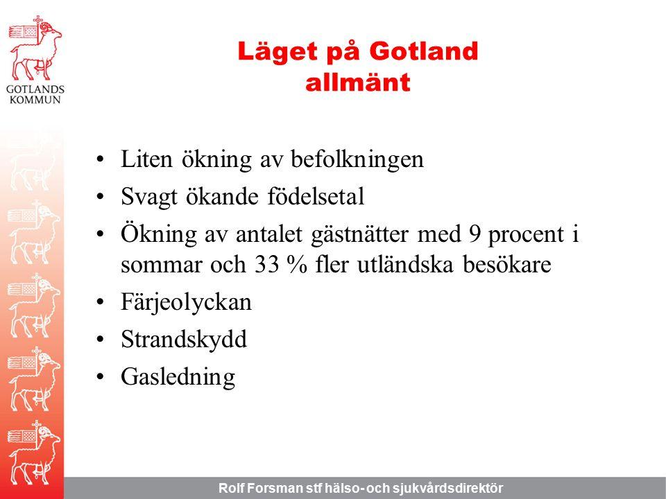 Rolf Forsman stf hälso- och sjukvårdsdirektör Läget på Gotland allmänt Liten ökning av befolkningen Svagt ökande födelsetal Ökning av antalet gästnätter med 9 procent i sommar och 33 % fler utländska besökare Färjeolyckan Strandskydd Gasledning