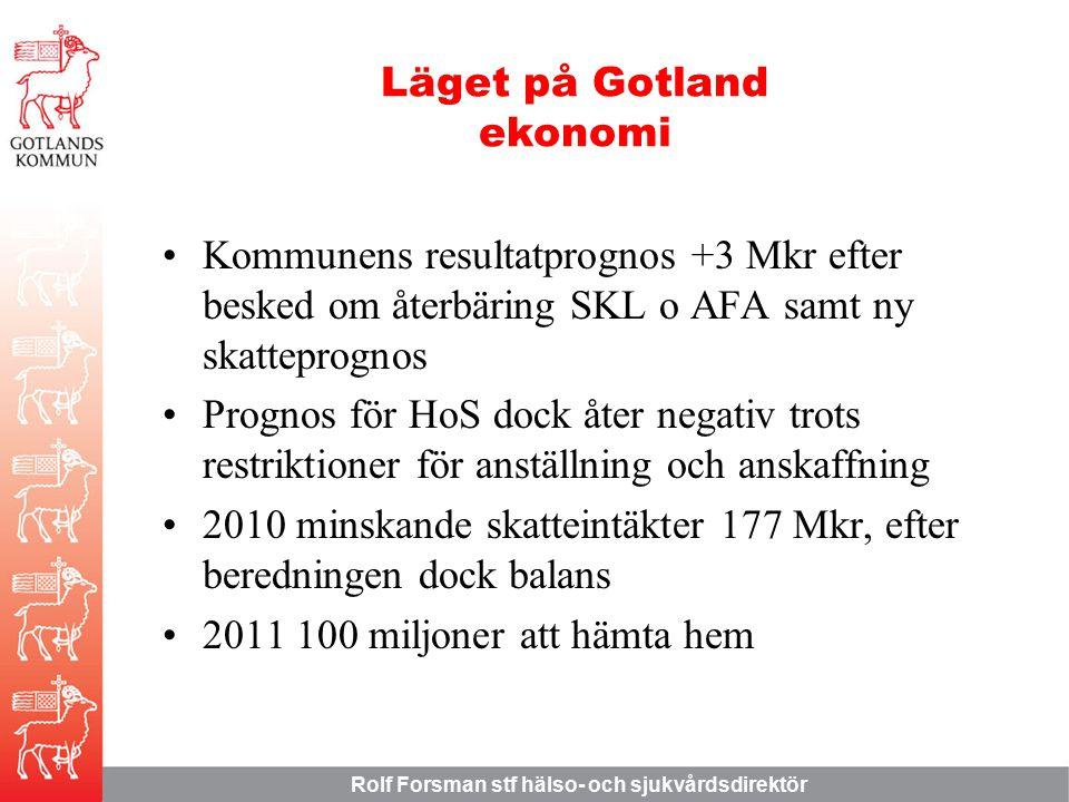 Rolf Forsman stf hälso- och sjukvårdsdirektör Kommunens resultatprognos +3 Mkr efter besked om återbäring SKL o AFA samt ny skatteprognos Prognos för HoS dock åter negativ trots restriktioner för anställning och anskaffning 2010 minskande skatteintäkter 177 Mkr, efter beredningen dock balans 2011 100 miljoner att hämta hem Läget på Gotland ekonomi