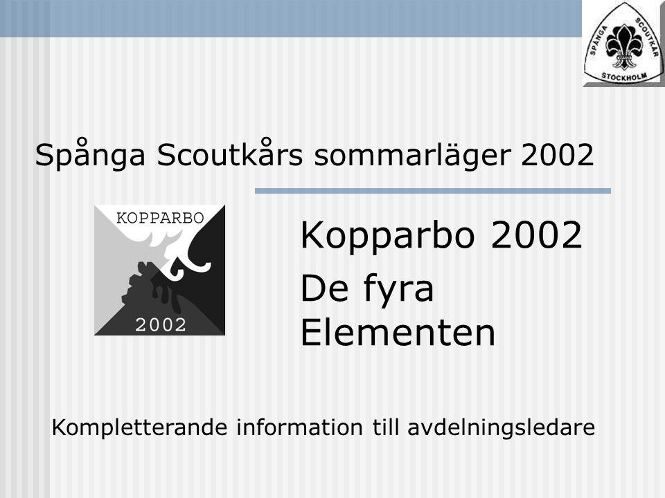 Spånga Scoutkårs sommarläger 2002 Kopparbo 2002 De fyra Elementen Kompletterande information till avdelningsledare
