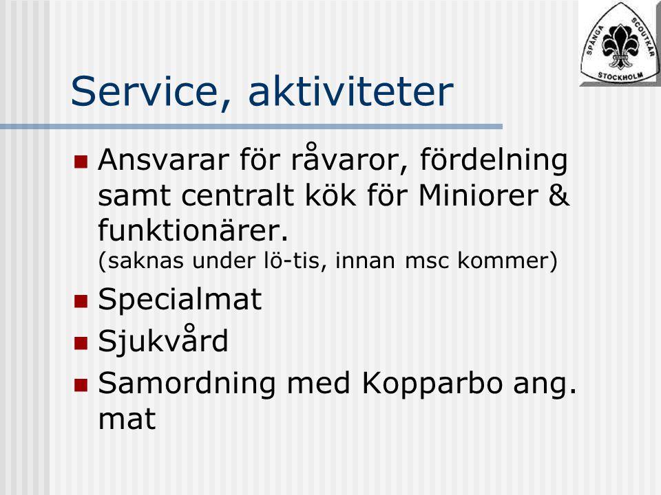 Service, aktiviteter Ansvarar för råvaror, fördelning samt centralt kök för Miniorer & funktionärer.