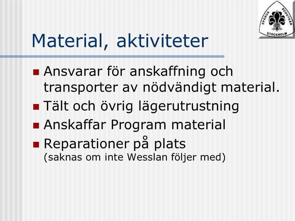 Material, aktiviteter Ansvarar för anskaffning och transporter av nödvändigt material.