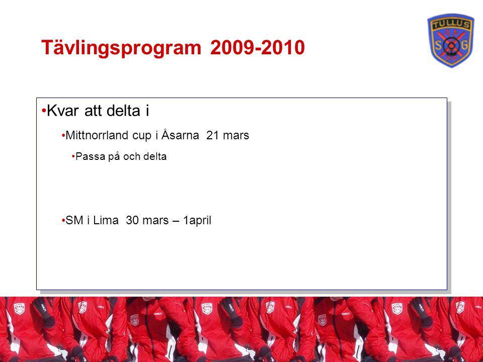 Tävlingsprogram 2009-2010 Kvar att delta i Mittnorrland cup i Åsarna 21 mars Passa på och delta SM i Lima 30 mars – 1april Kvar att delta i Mittnorrland cup i Åsarna 21 mars Passa på och delta SM i Lima 30 mars – 1april
